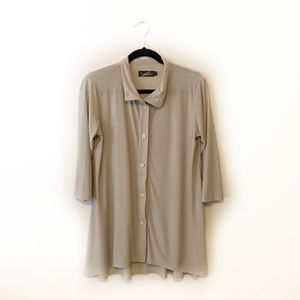 Sympli Tan Collared Button Up 3/4 Sleeve Blouse